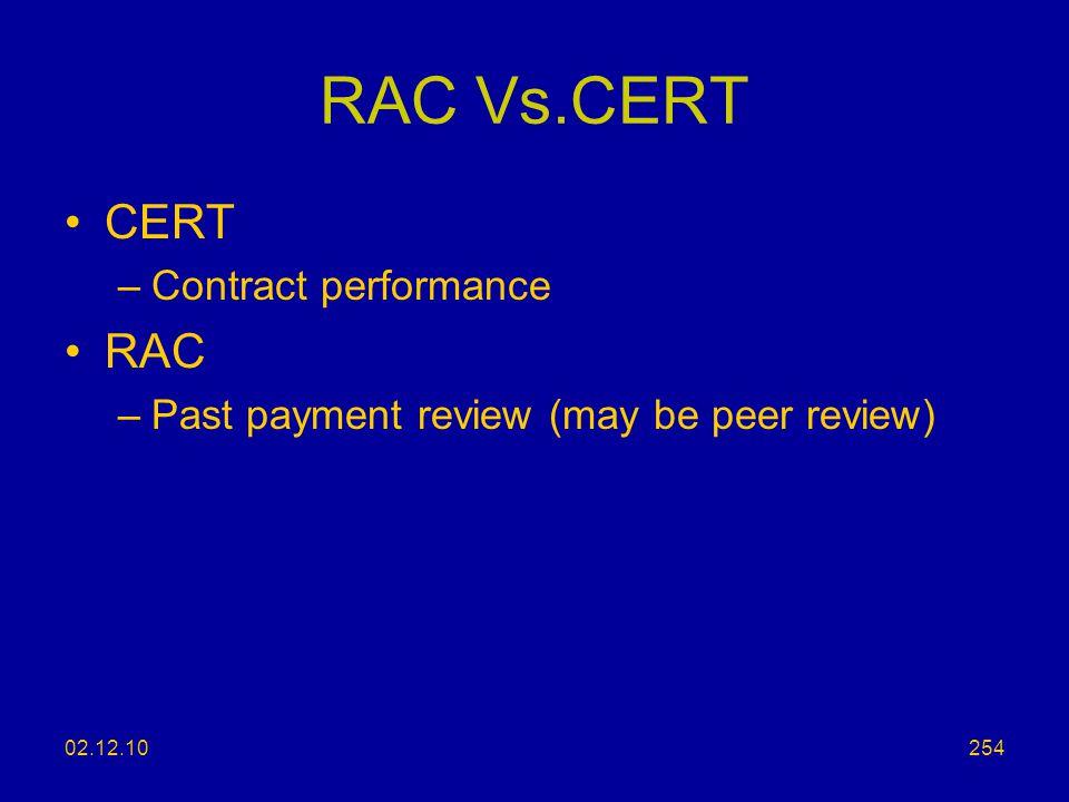 RAC Vs.CERT CERT RAC Contract performance
