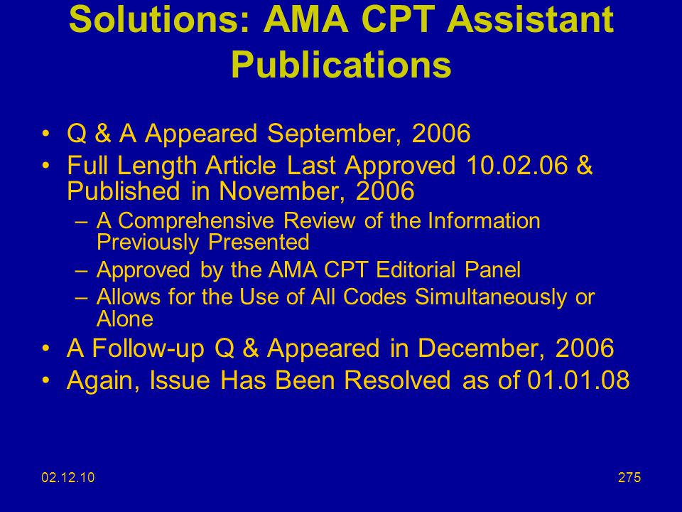 Solutions: AMA CPT Assistant Publications