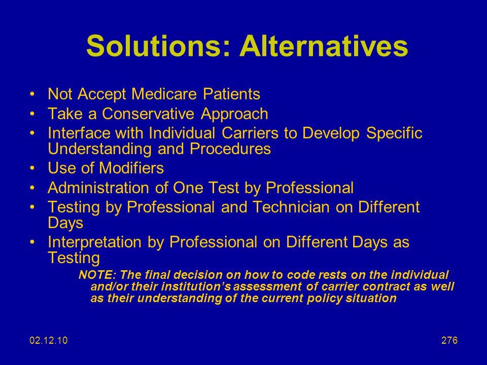 Solutions: Alternatives