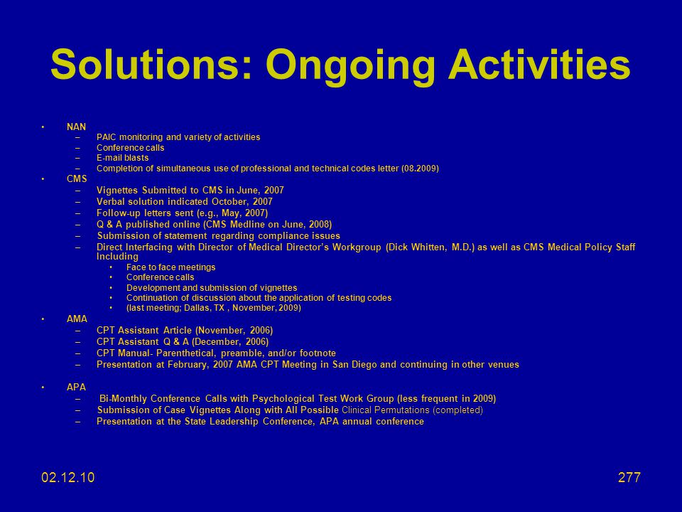 Solutions: Ongoing Activities