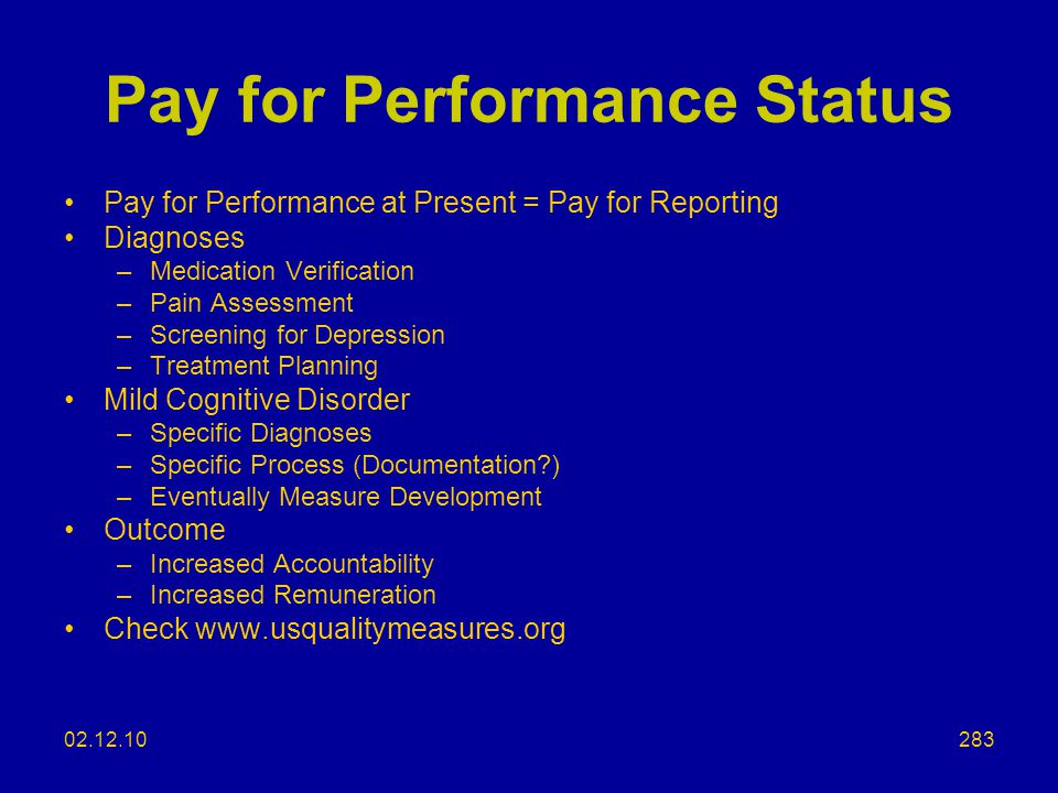 Pay for Performance Status