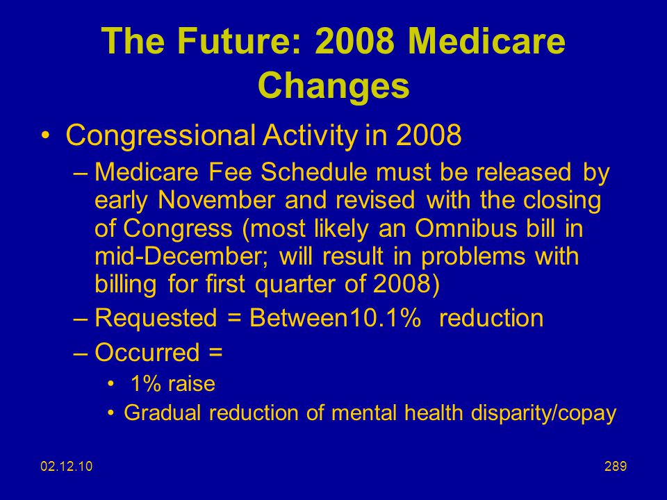 The Future: 2008 Medicare Changes