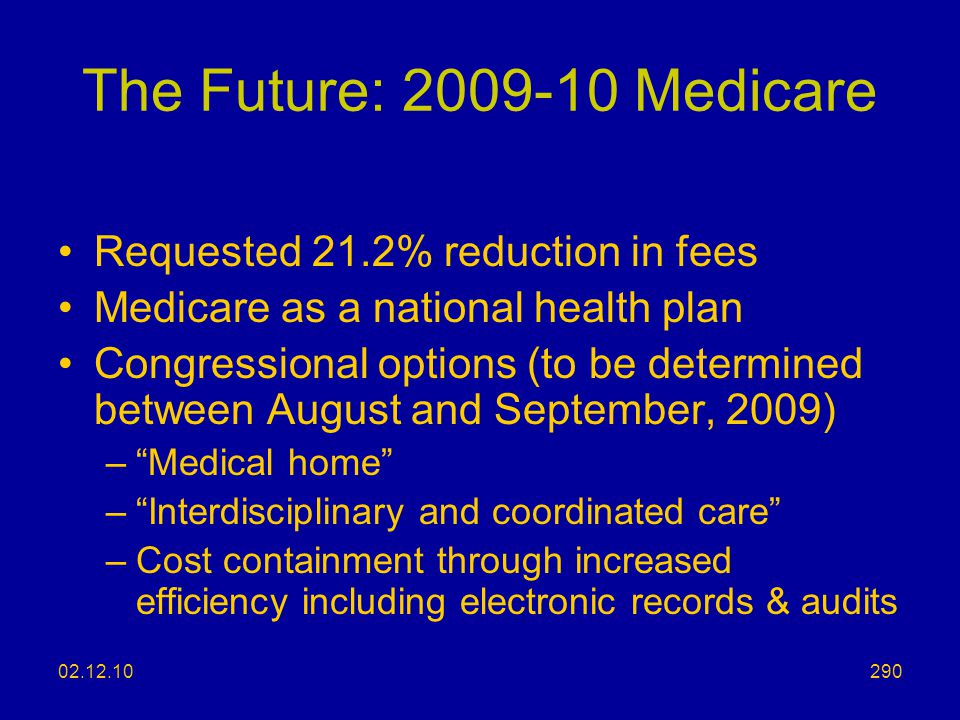 The Future: 2009-10 Medicare Requested 21.2% reduction in fees
