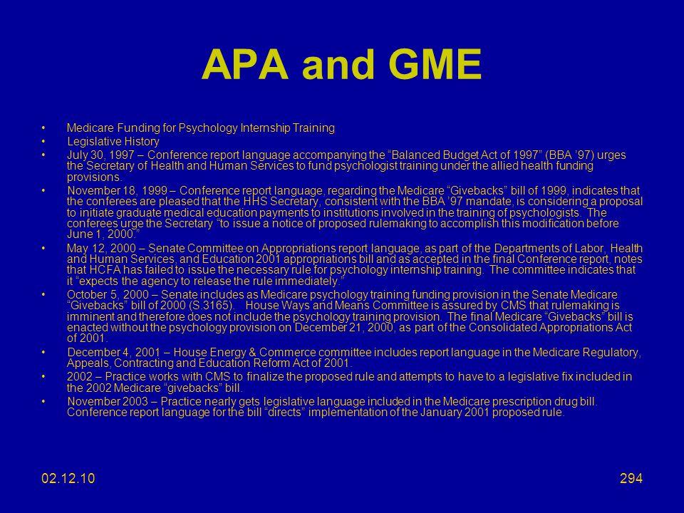 APA and GME Medicare Funding for Psychology Internship Training. Legislative History.