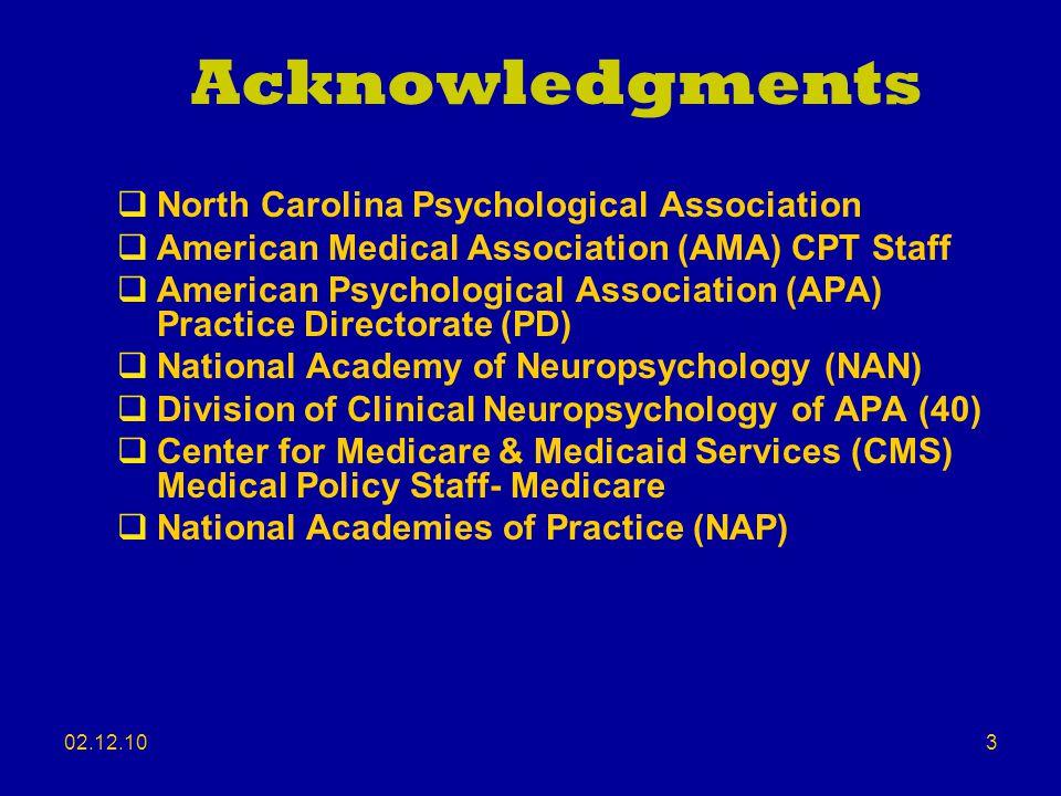 Acknowledgments North Carolina Psychological Association