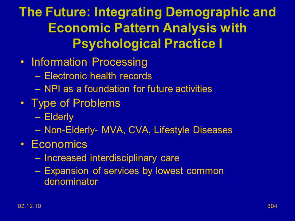 The Future: Integrating Demographic and Economic Pattern Analysis with Psychological Practice I