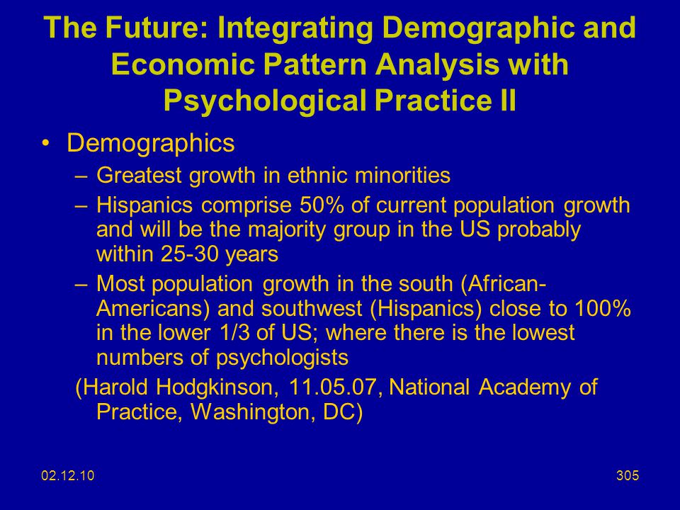 The Future: Integrating Demographic and Economic Pattern Analysis with Psychological Practice II