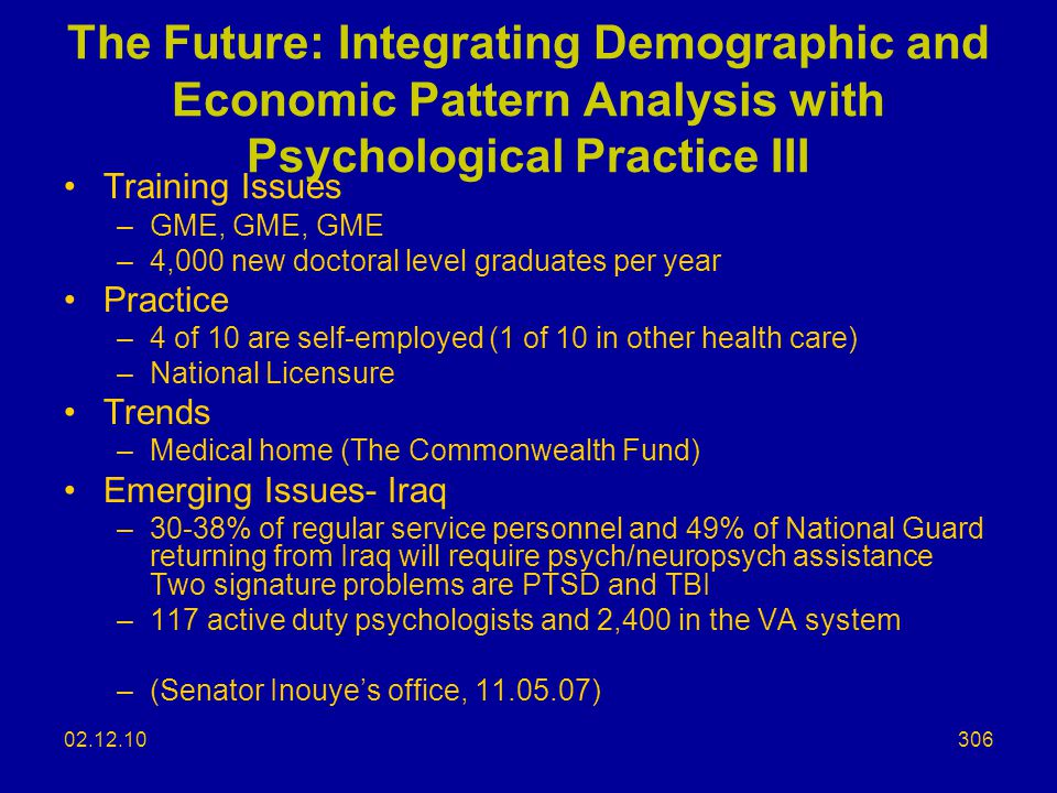 The Future: Integrating Demographic and Economic Pattern Analysis with Psychological Practice III