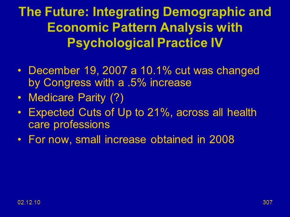 The Future: Integrating Demographic and Economic Pattern Analysis with Psychological Practice IV