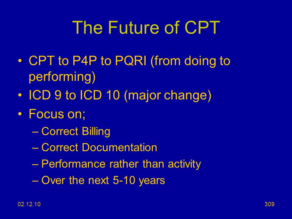 The Future of CPT CPT to P4P to PQRI (from doing to performing)