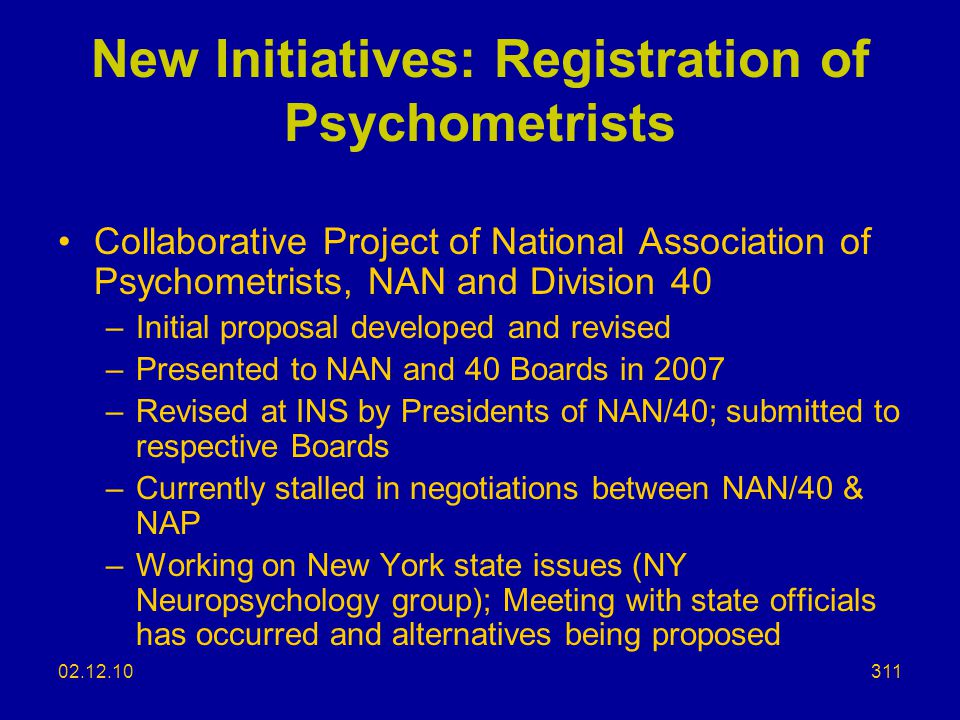 New Initiatives: Registration of Psychometrists