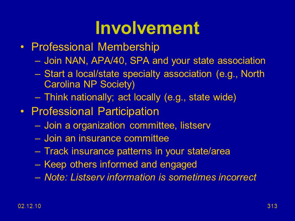 Involvement Professional Membership Professional Participation