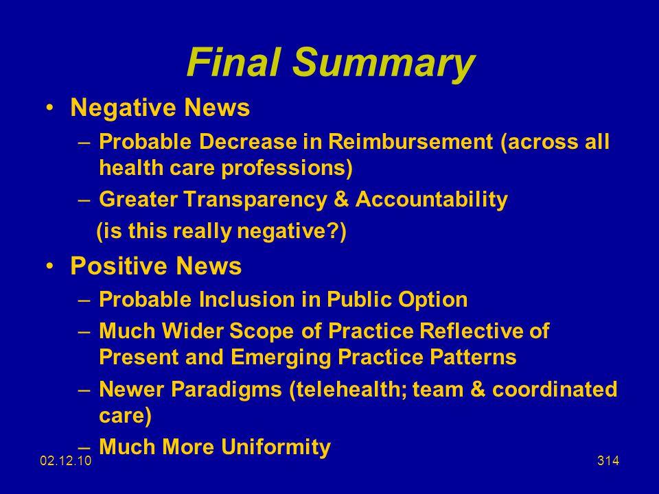 Final Summary Negative News Positive News