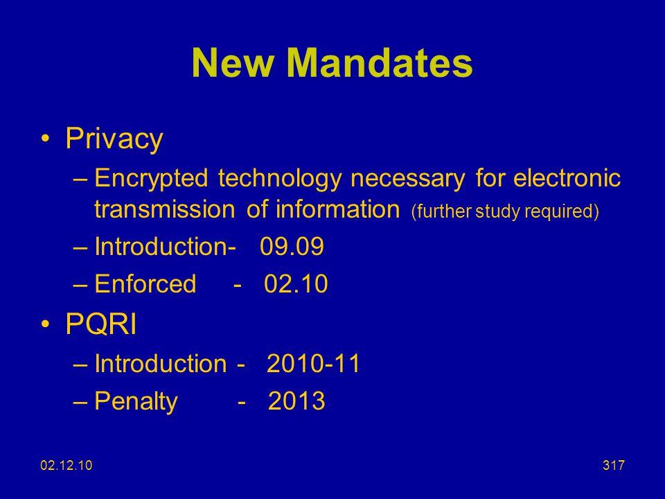 New Mandates Privacy PQRI