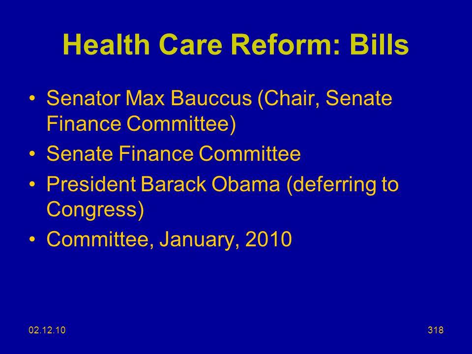 Health Care Reform: Bills