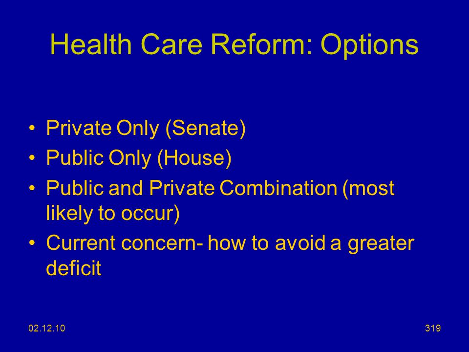 Health Care Reform: Options