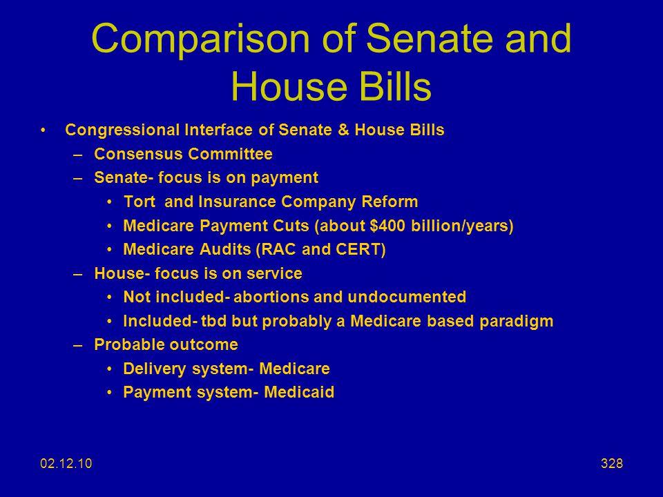Comparison of Senate and House Bills
