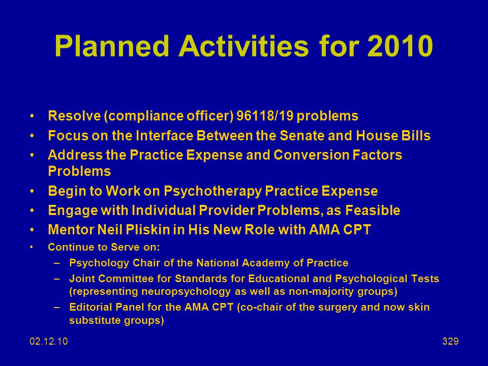 Planned Activities for 2010