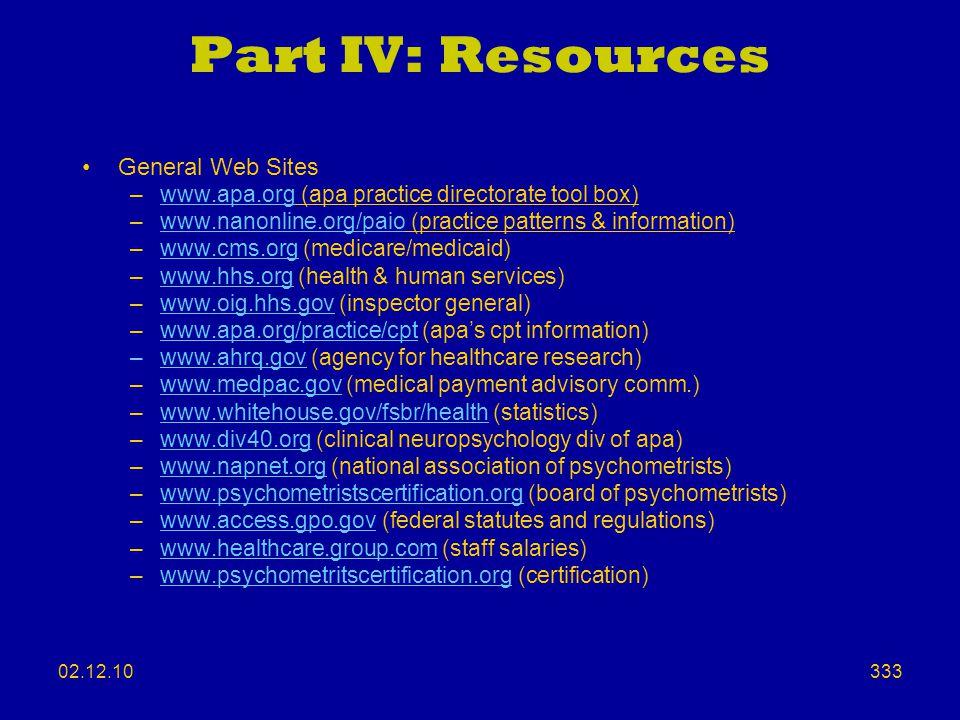 Part IV: Resources General Web Sites