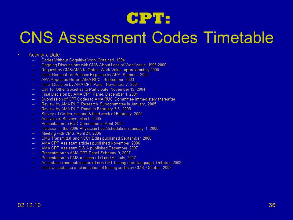 CPT: CNS Assessment Codes Timetable