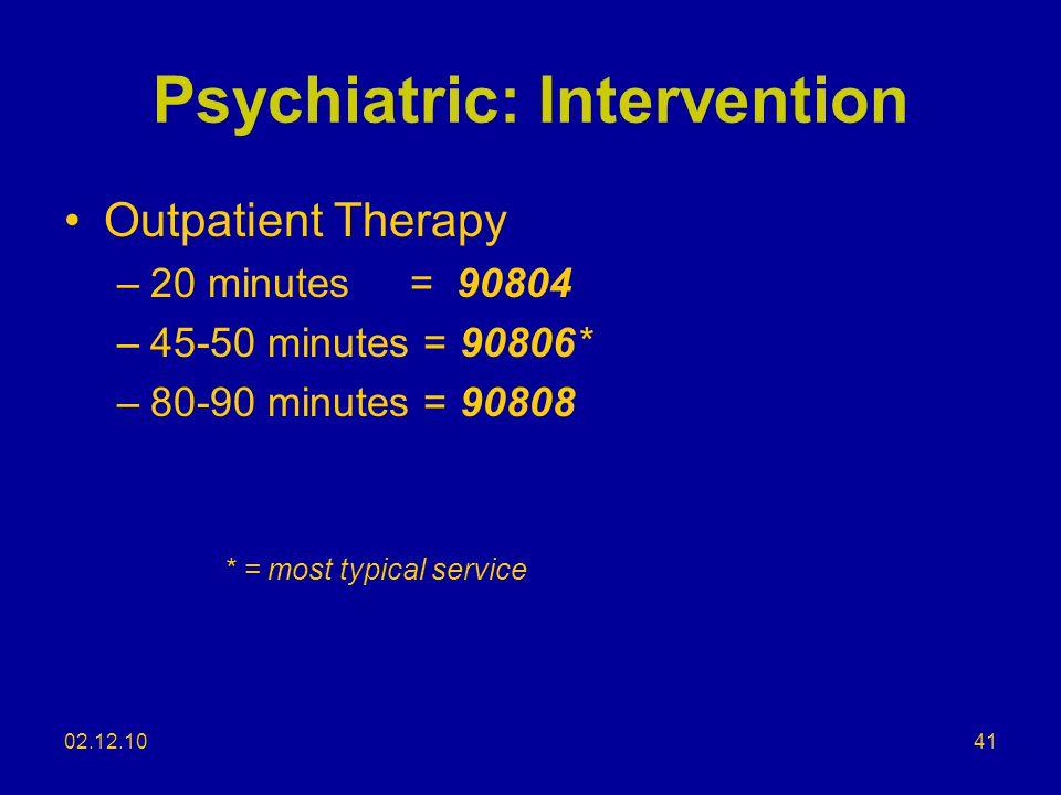 Psychiatric: Intervention