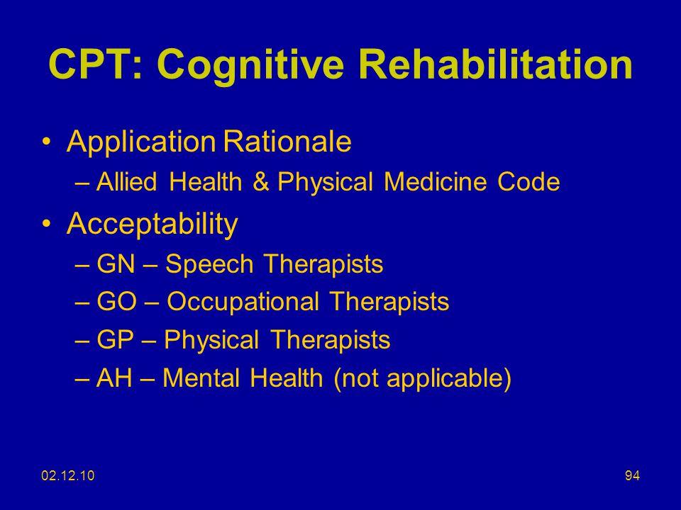 CPT: Cognitive Rehabilitation