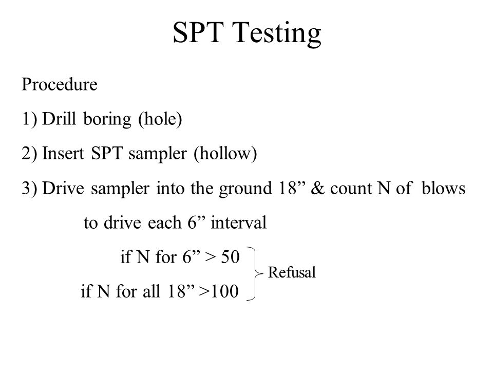 SPT Testing Procedure 1) Drill boring (hole)