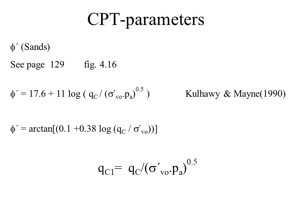 CPT-parameters ´ (Sands) See page 129 fig. 4.16