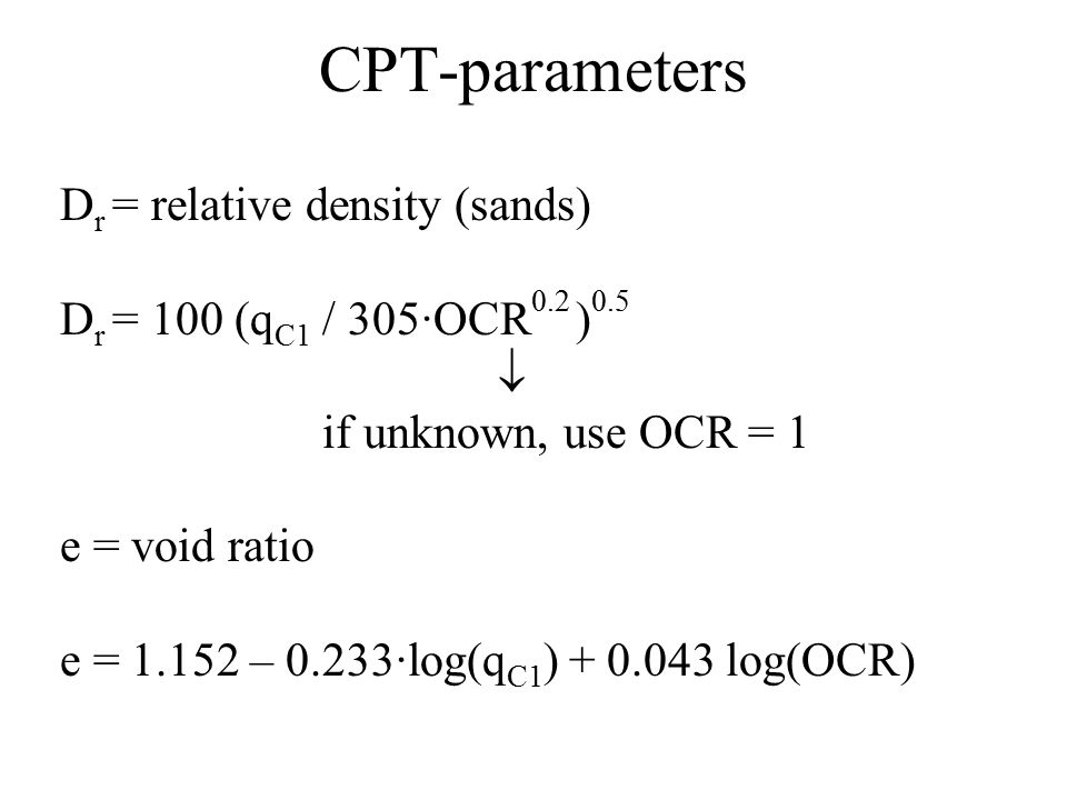 CPT-parameters Dr = relative density (sands)