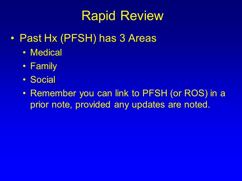 Rapid Review Past Hx (PFSH) has 3 Areas Medical Family Social