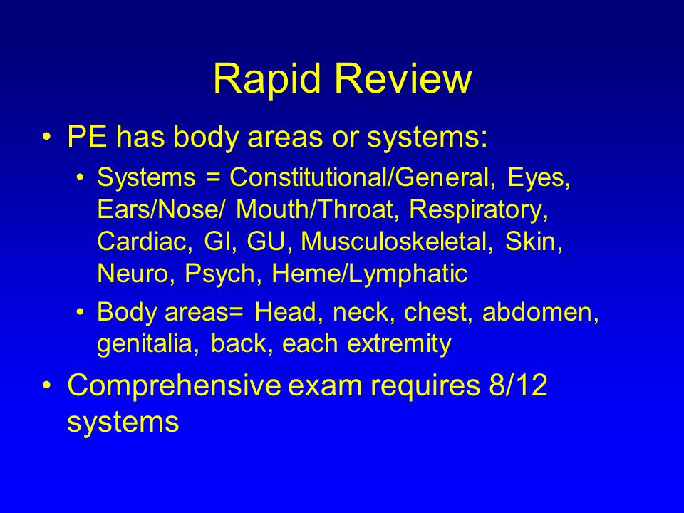 Rapid Review PE has body areas or systems: