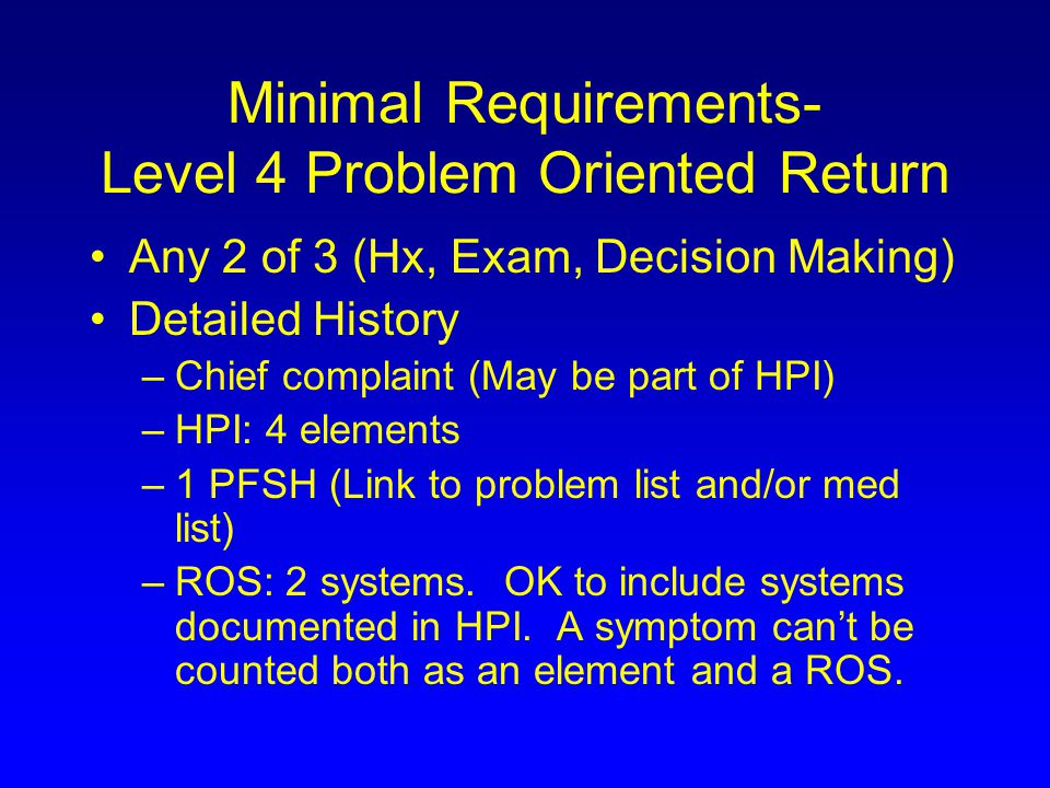 Minimal Requirements- Level 4 Problem Oriented Return