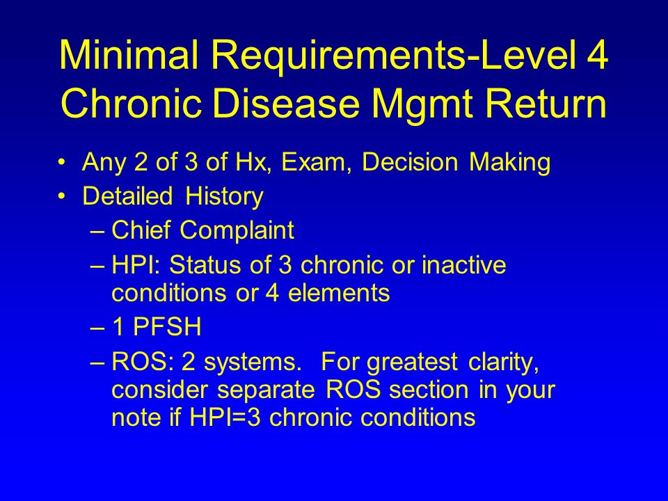 Minimal Requirements-Level 4 Chronic Disease Mgmt Return