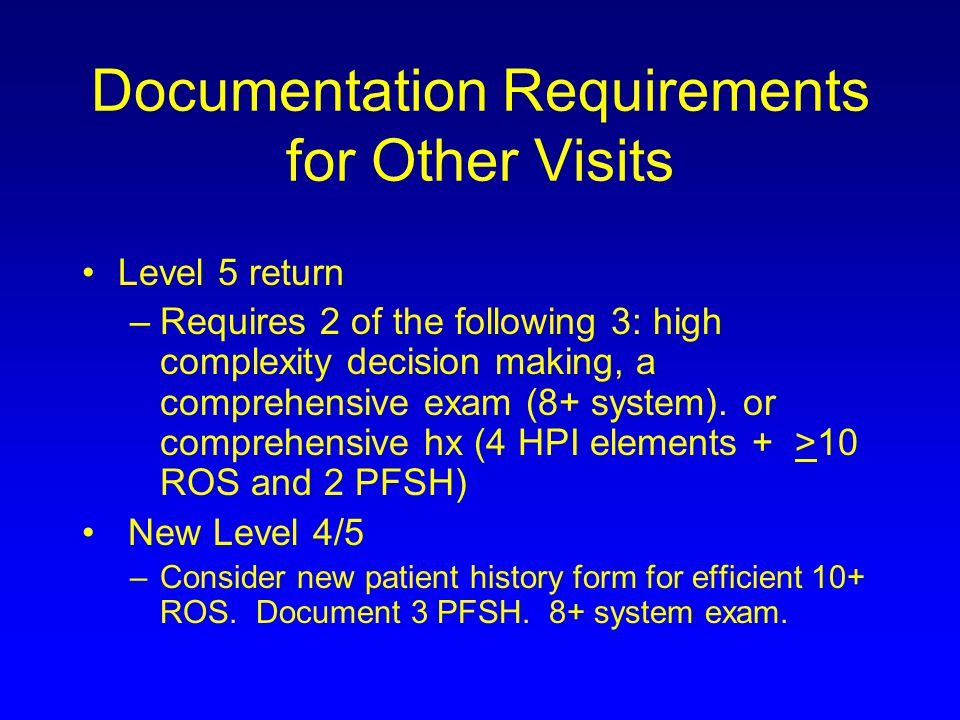 Documentation Requirements for Other Visits