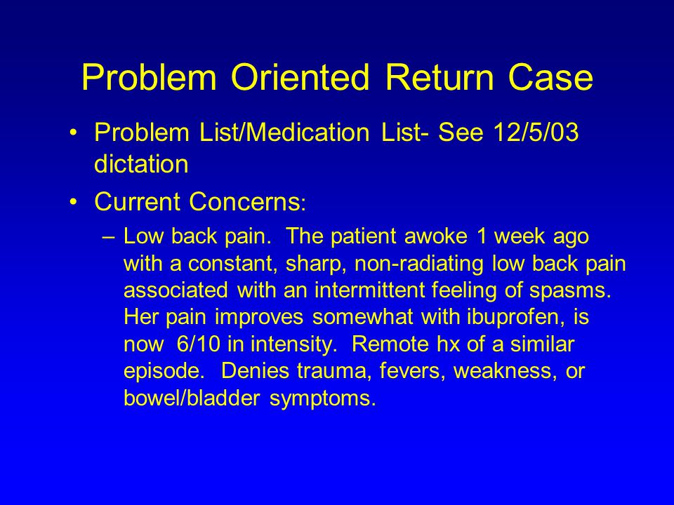Problem Oriented Return Case