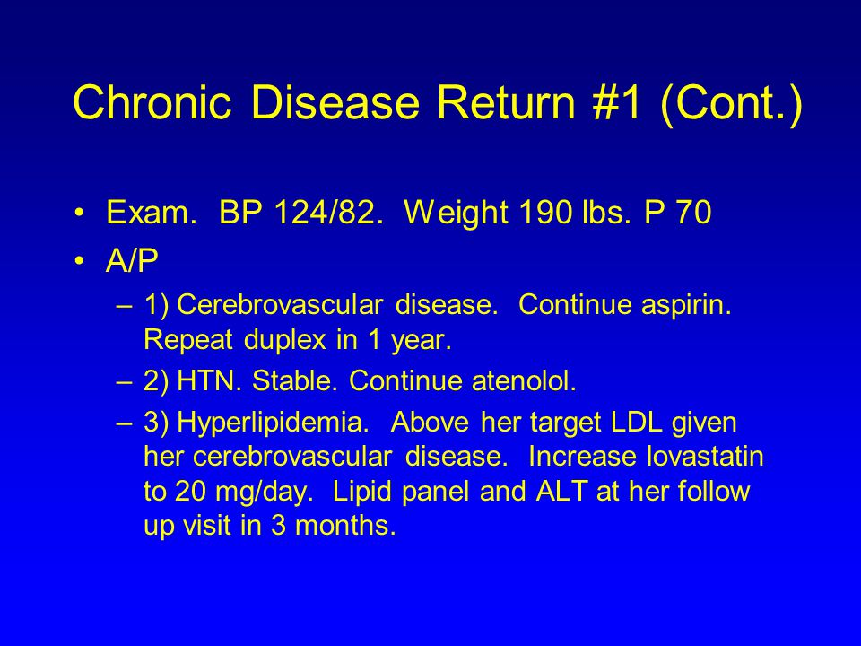 Chronic Disease Return #1 (Cont.)