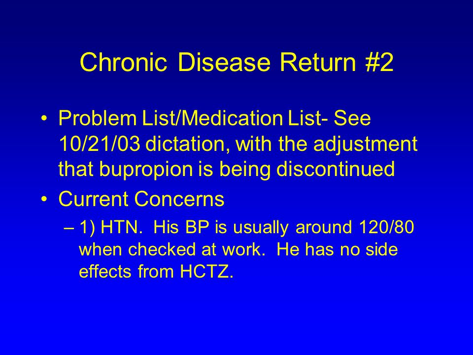 Chronic Disease Return #2