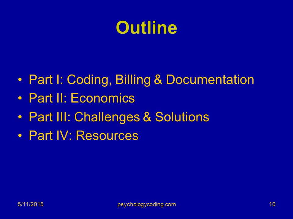 Outline Part I: Coding, Billing & Documentation Part II: Economics