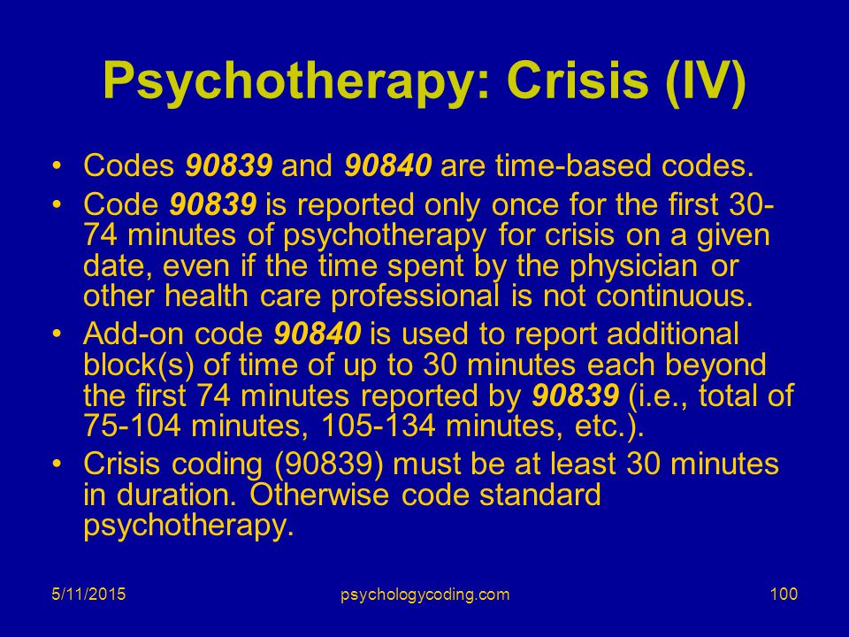Psychotherapy: Crisis (IV)