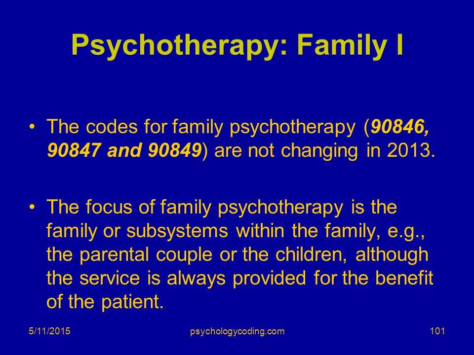 Psychotherapy: Family I