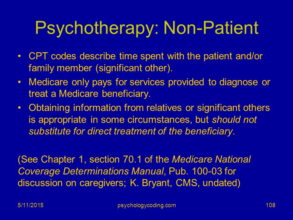 Psychotherapy: Non-Patient