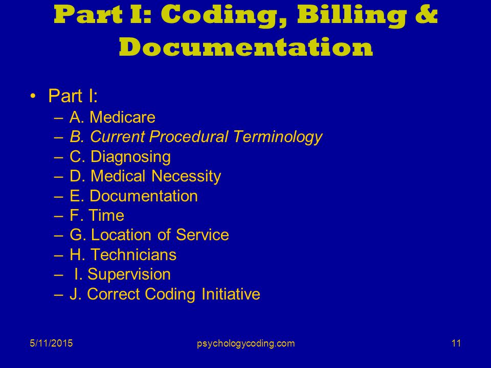 Part I: Coding, Billing & Documentation