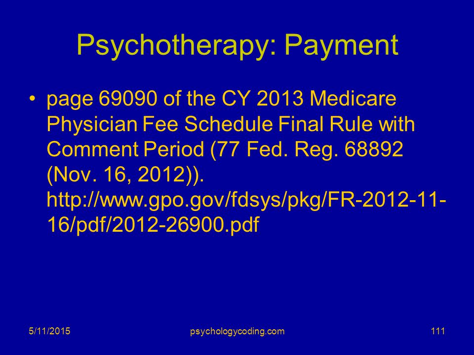 Psychotherapy: Payment