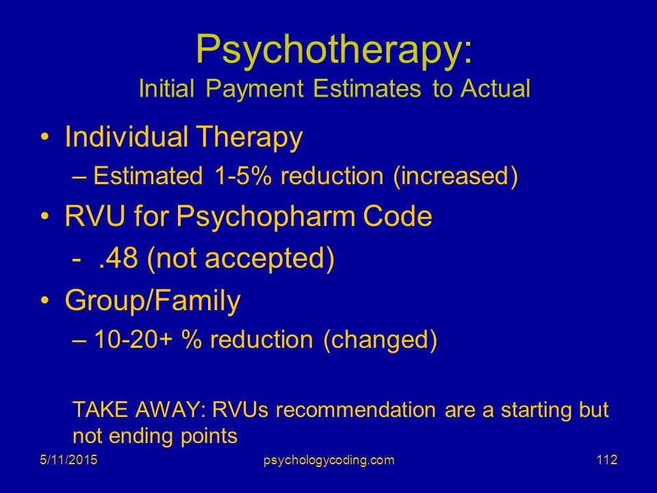 Psychotherapy: Initial Payment Estimates to Actual