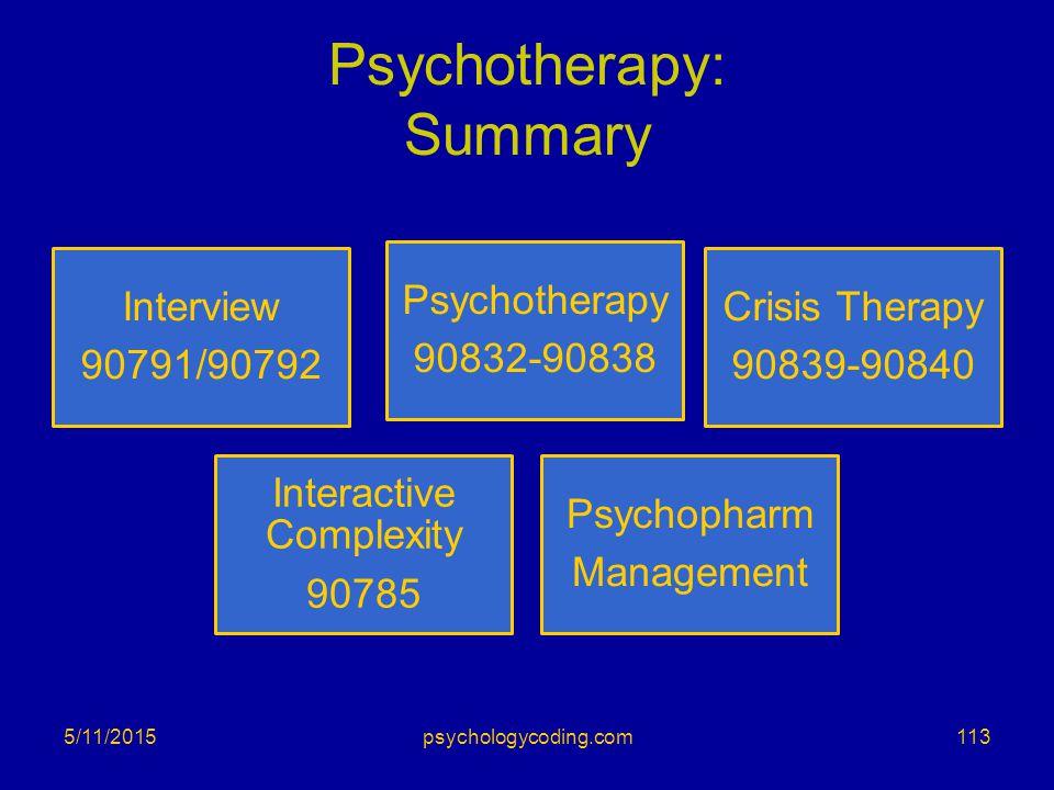 Psychotherapy: Summary