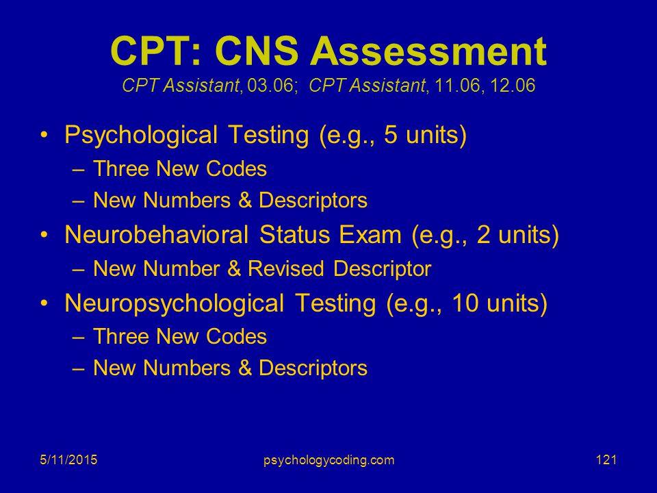 CPT: CNS Assessment CPT Assistant, 03.06; CPT Assistant, 11.06, 12.06