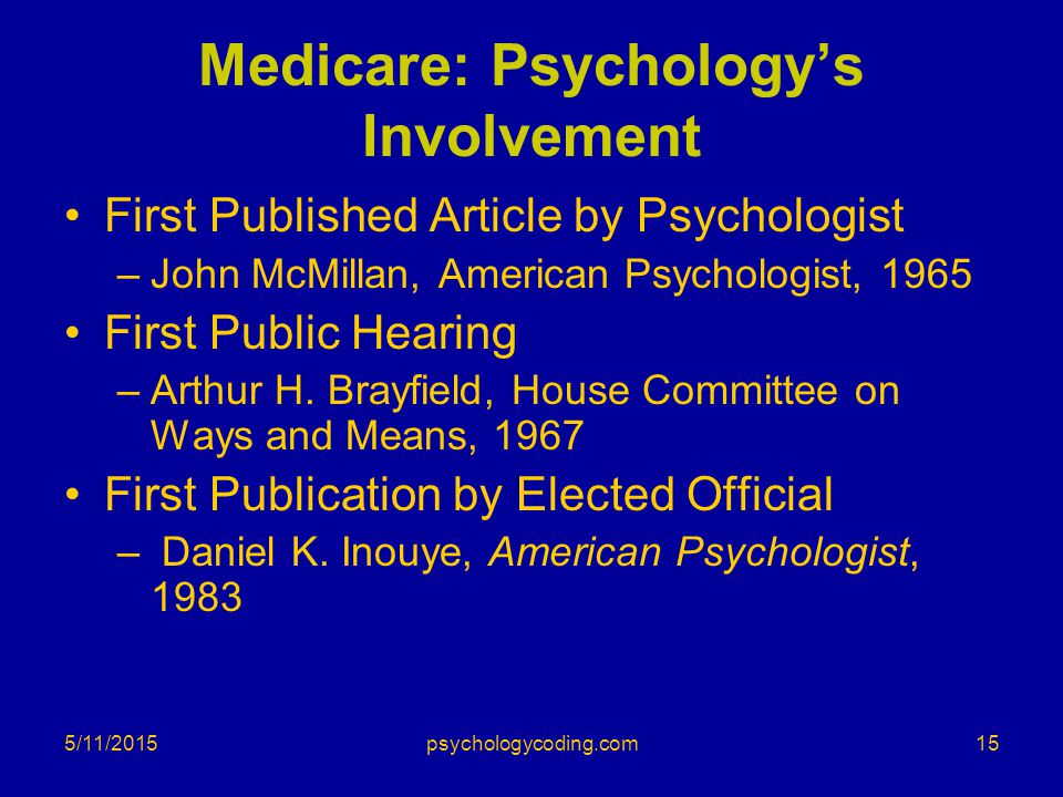 Medicare: Psychology's Involvement