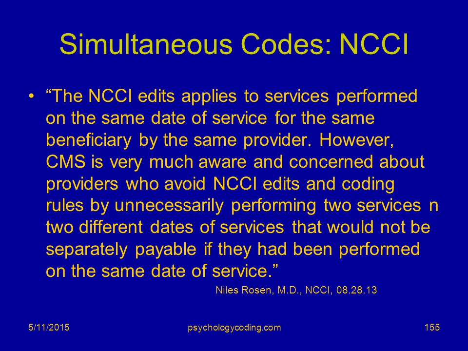 Simultaneous Codes: NCCI