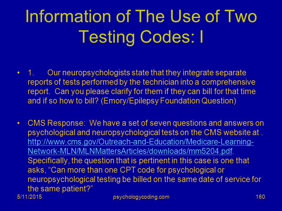 Information of The Use of Two Testing Codes: I