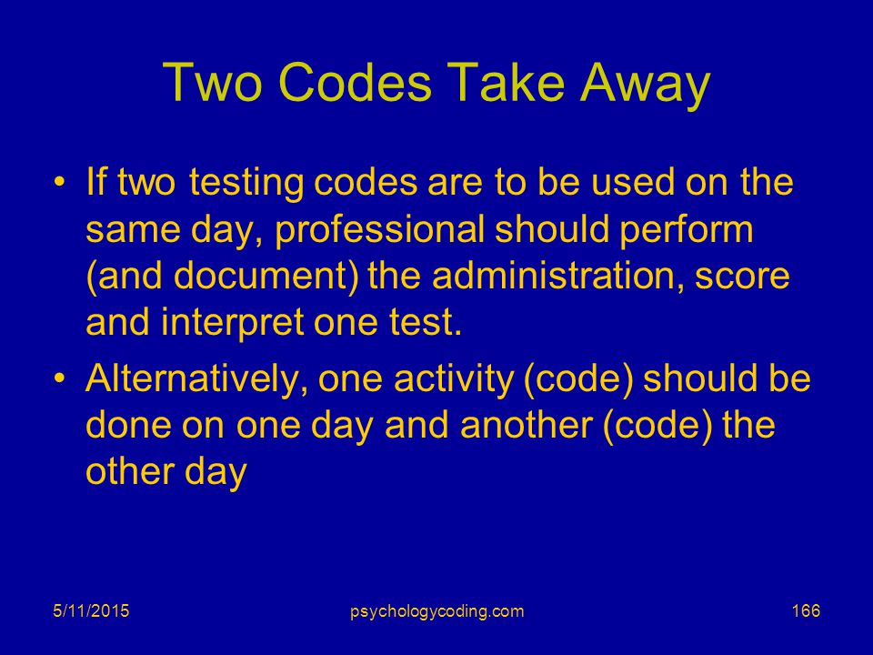 Two Codes Take Away